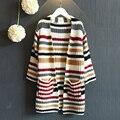 2016 весной новые дети девушки с длинными рукавами трикотажные кардиган свитер куртка Корейской бесплатная доставка