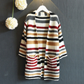 2016 spring new kids girls long sleeved knit cardigan sweater jacket in Korean free shipping