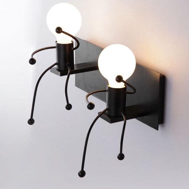 Modern 3D Cartoon Figure Lamp Mounted Iron Wall Light 90 260V Home