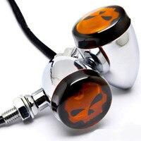 Motorcycle Skull Lens Chrome Motorcycle Turn Signals Light For Harley FXB Dyna Super Glide Sturgis Disc