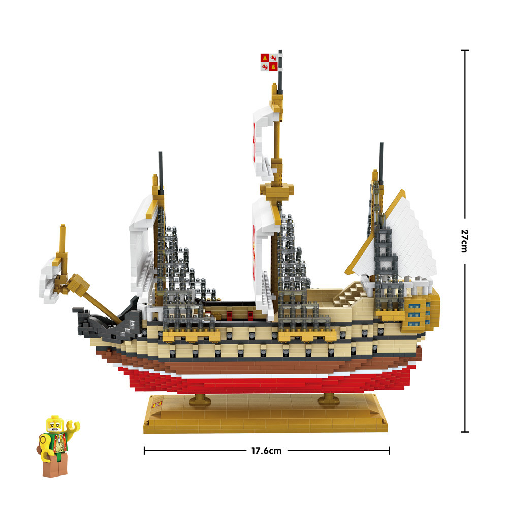 US $56 58 |LOZ Mini Blocks Santa Maria Ship Model Boat Blocks Creator  Building Assembly Toy Kids Micro Brick Toys for Children 9048-in Blocks  from