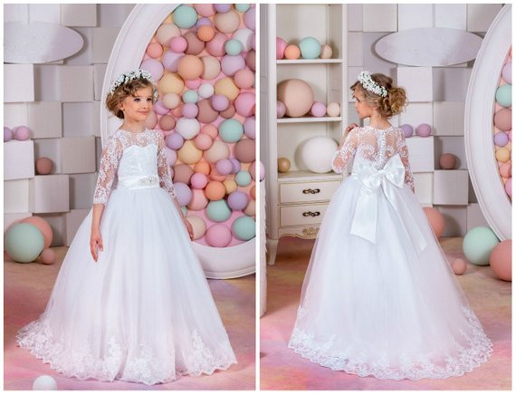 Elegant sheer neck Flower Girl Dress Wedding Holiday Party for junior Bridesmaid illusion Long Sleeves White Tulle Lace Dresses white round neck long sleeves casual dress