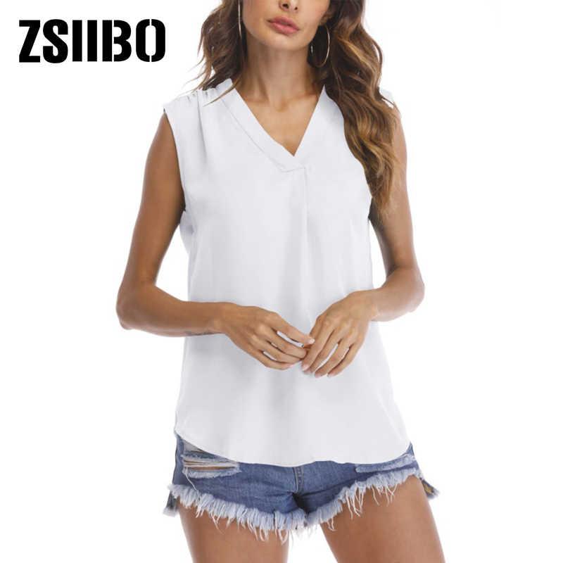 Blusa de mujer Boho 2019 verano Casual suelta sin mangas camisas de gasa sólido cuello en V blusas Camisas de mujer chaleco ropa de talla grande