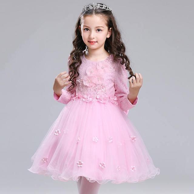 New Kids Girls Christmas Lace Embroidery Flower Dress Children Applique Party Vestido Teenage Girls Bowknot Princess Costume Q75