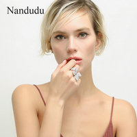 Nandudu Sparkling Luxury White Gold Color Rings With AAA Zircon Stone Women Birthday Gift Bijouterie Ring