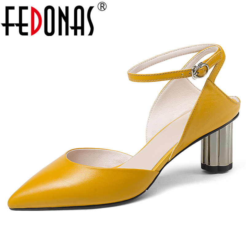 FEDONAS Women Slingbacks Pumps High Heels Genuine Leather Pointed Toe Wedding Party Shoes Woman Summer Sandals Ladies New Shoes fedonas top quality women bowtie pumps genuine leather ladies shoes woman sexy high heels party wedding shoes pointed toe pumps