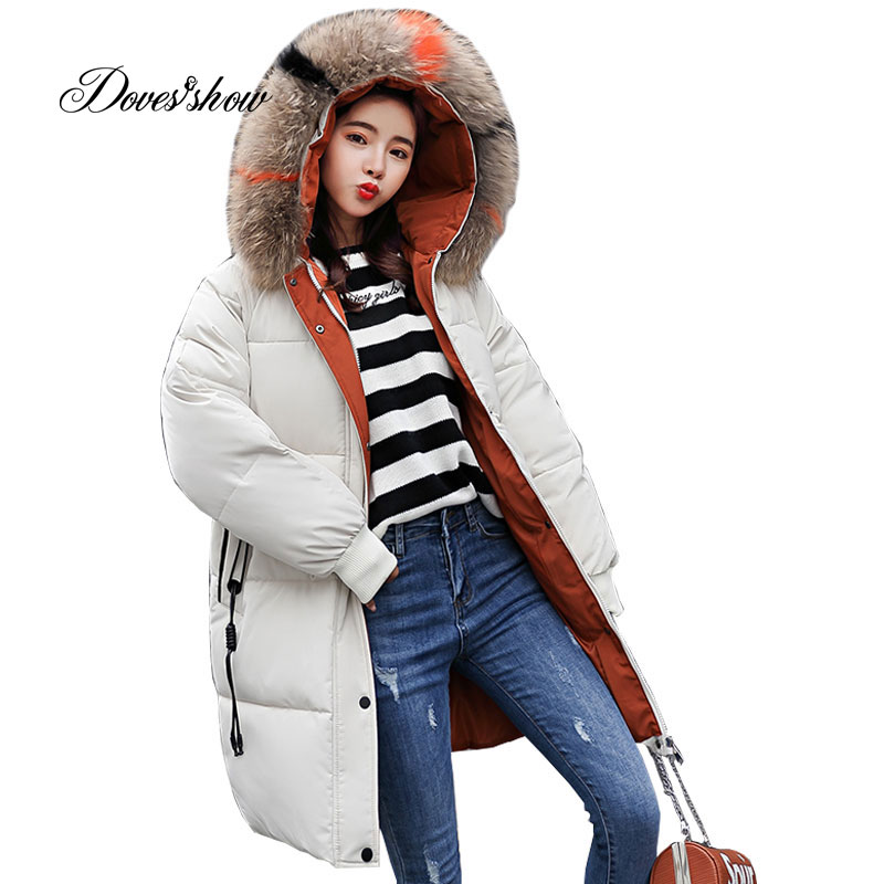 Hooded Elastic Contrast Color Fur Collar Winter Down Coat Jacket Thick Warm Slim Women Casaco Feminino Abrigos Mujer Invierno