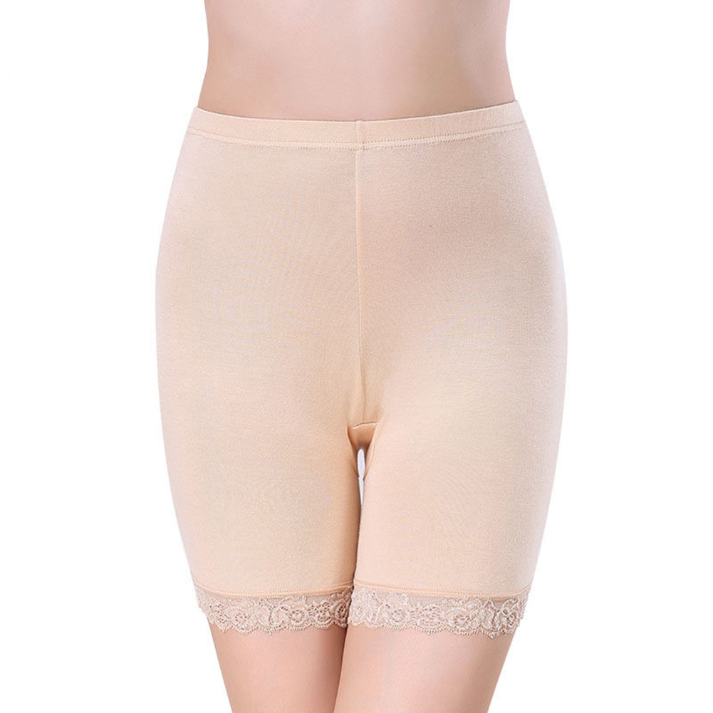 Summer Safety Short Pant Elastic Anti Chafing Lace Thigh Sock Plus Size Middle Waist Bamboo Fiber Safety Shorts Underwear