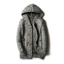 5XL модный Мужской Повседневный свитер, зимнее плотное пальто, тонкий кардиган, мужской качественный вязаный брендовый свитер с капюшоном