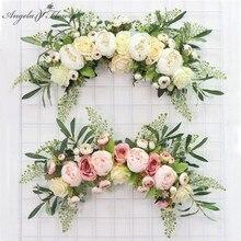 Grinalda artificial porta limiar flor diy casamento casa sala de estar festa pingente decoração da parede natal guirlanda presente rosa peônia