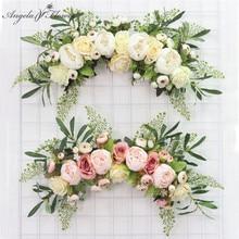 Künstliche Kranz Tür Schwelle Blume DIY Hochzeit Hause Wohnzimmer Party Anhänger Wand Decor Weihnachten Girlande Geschenk Rose Pfingstrose