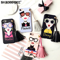 "Lovely Tassels Girl Shockproof Phone Covers For iPhone 6s 7 Plus 4.7"" 5.5"" Cellphone Protective Back Cases Shell Housing DE18"
