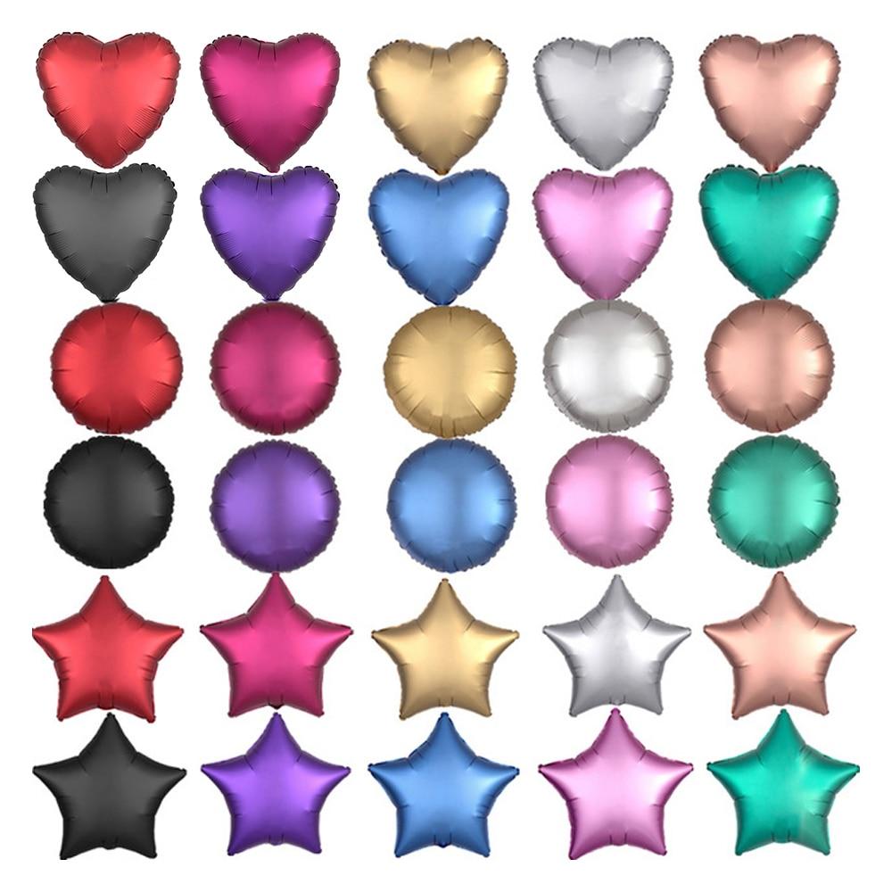 Металлический шар из хромированной фольги, 50 шт./лот, 18 дюймов, в форме сердца и звезд, круглые матовые гелиевые шары для украшения дня рождения, свадьбы, вечеринки-0