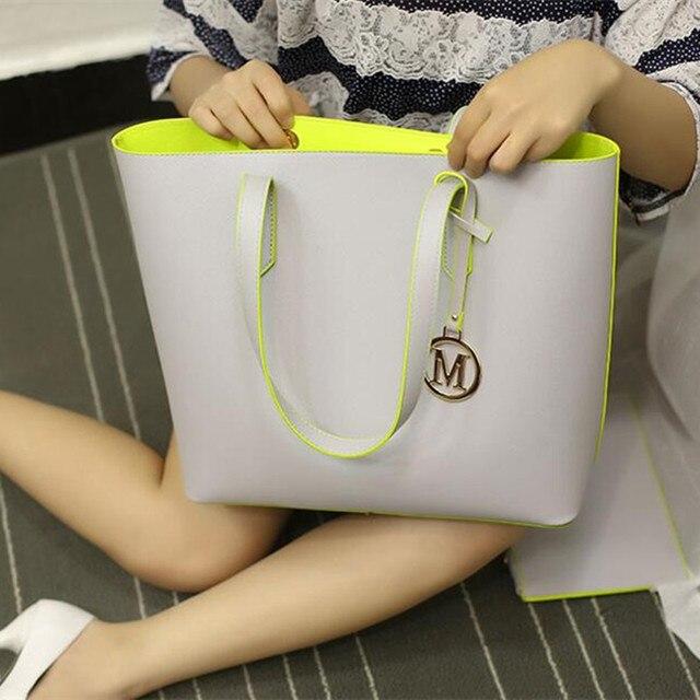 Das 2016 Mulheres Novas Bolsas de Alta Qualidade Da Moda Minimalista High-Capacidade Tote Bag Mulheres Famosas Marcas De Couro Pu Sacos de Ombro