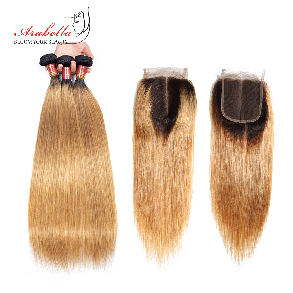 Brazilian Straight Hair Bundles With Closure 1b/27 Ombre Arabella Remy Hair Extension 100% Human Hair Bundles With Closure