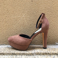 HOT Selling Women Pumps Sexy Platform High Heels Ankle Strap 11 5CM Extreme High Heels Sude