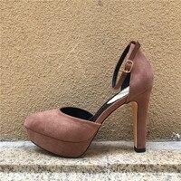 뜨거운 판매 여성 펌프 섹시한 플랫폼 하이힐 발목 스트랩 11.5 센치메터 극단적 인 하이힐 Sude 신발 플로 크 웨딩 신발