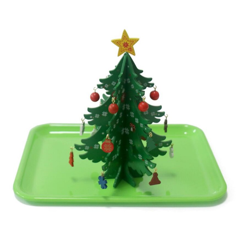Montessori Learning&Education daily life learning teaching aids early education educational toys green plate Christmas tree