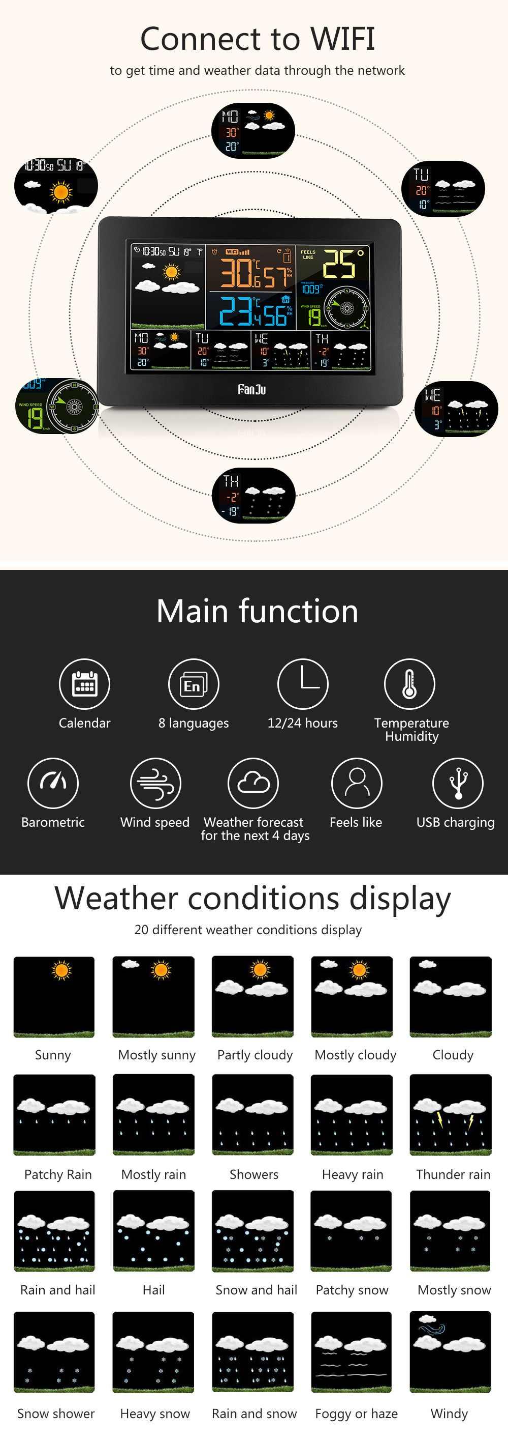 Station météo wifi, température humidité baromètre vitesse et direction du vent horloge numérique