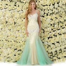 OUMEIYA OMY544 Elegante Meerjungfrau Spaghetti Lange Vestido de festa Abend 2016 Mit Kristall Perlen Formelle Abendkleid Kleider