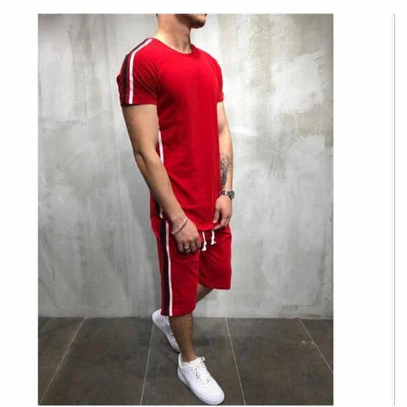 2019 летний мужской комплект из 2 предметов, спортивный костюм, футболка с короткими рукавами + шорты, комплект из двух предметов, спортивный костюм, повседневный пэчворк, для бега