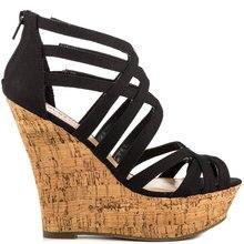 Black Nubuck Leather Women Sandal Wedges Open Toe Shoes Women High Heels Summer Style Criss Cross Platform Heel Comfortable Shoe