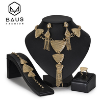 BAUS Exquisite 2018 Dubai Jewelry Sets Nigerian wedding african beads jewelry set fashion women crystal earrings Bridal gift
