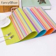 1 Pc Rainbow Color Pastilhas de Esteira de Tabela Placemat Pvc Esteira da Barra Da Cozinha Da Casa Acessórios de Mesa de Jantar Tapete