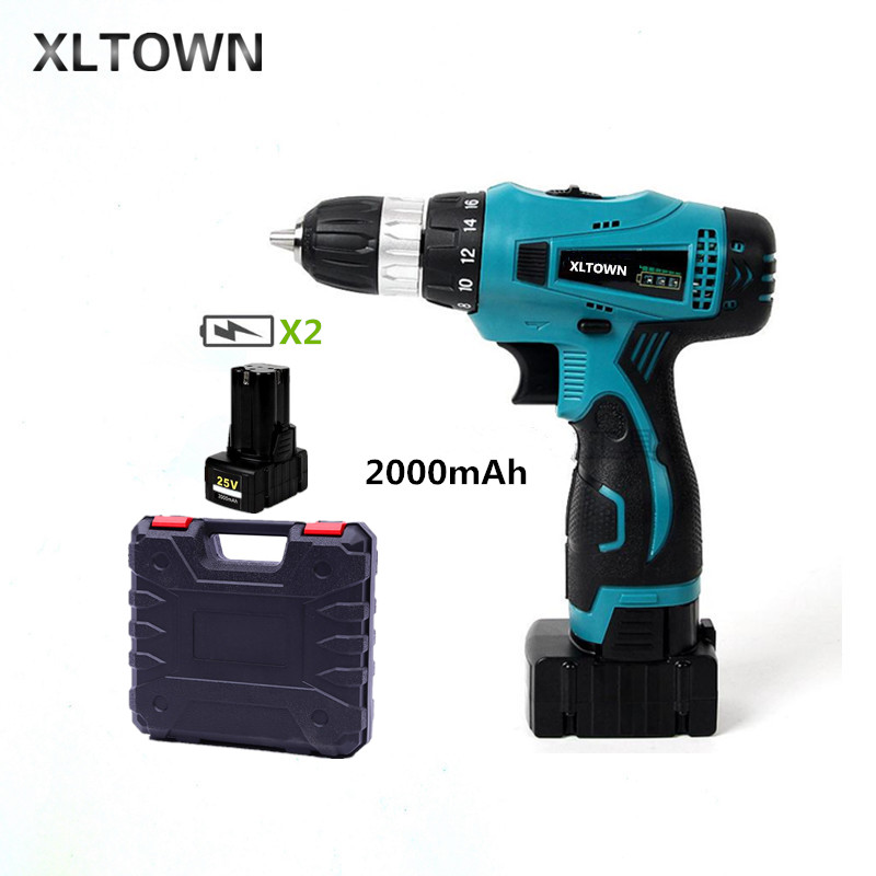 все цены на XLTOWN 25V 2000mAh electric screwdriver Cordless multi-function hand electric drill home power tools with 2 battery a box Tools онлайн