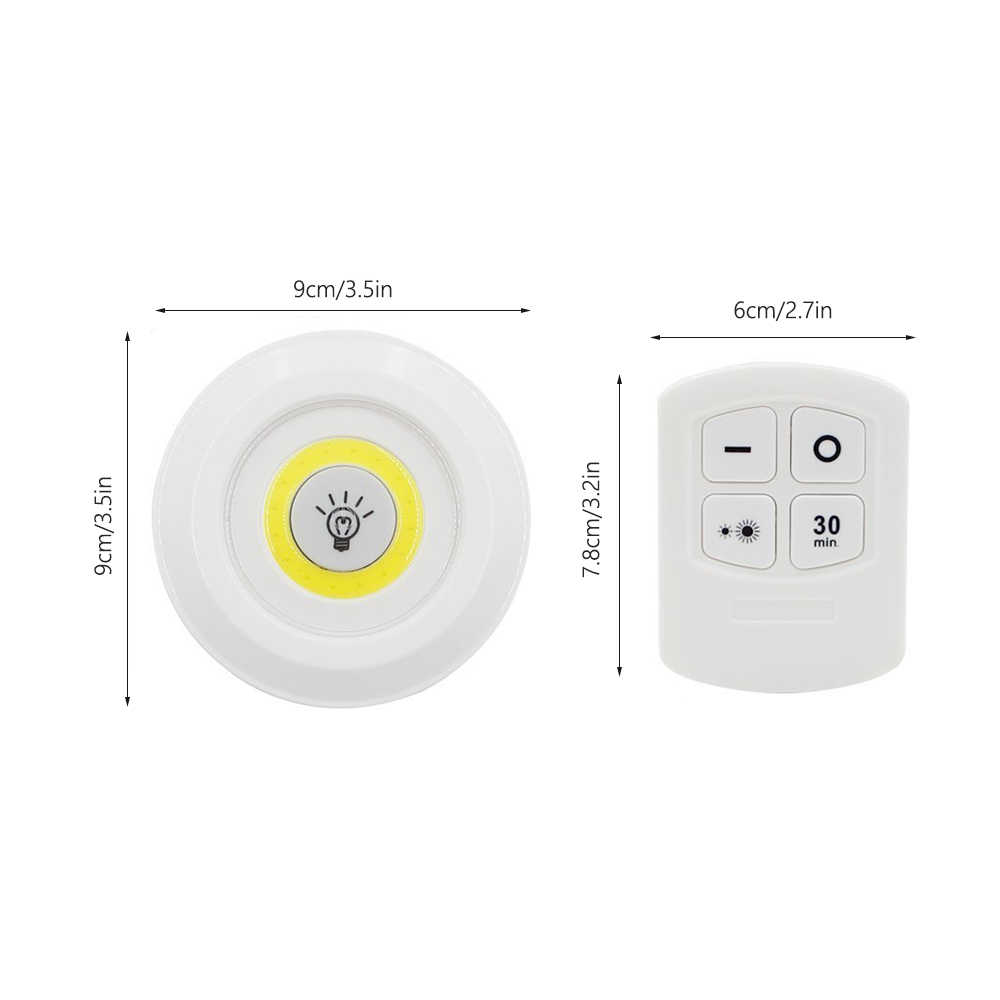 3 pcs Remote Control LED Night Light Bedside Lamp Closet Lights Super  Bright Under Cabinet Lamp Round Shape Battery Powered