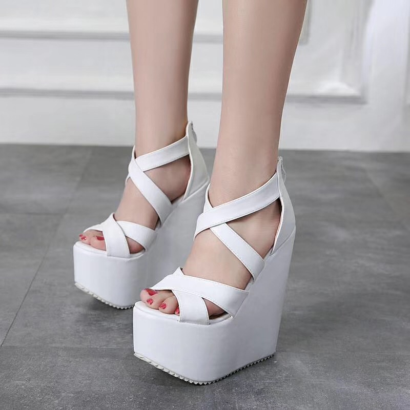 17cm High Heels Platform Wedges Shoes Black High Heels With Cross Straps Ladies Platform Shoes Ultra Heels Chunky Heel Shoes in High Heels from Shoes