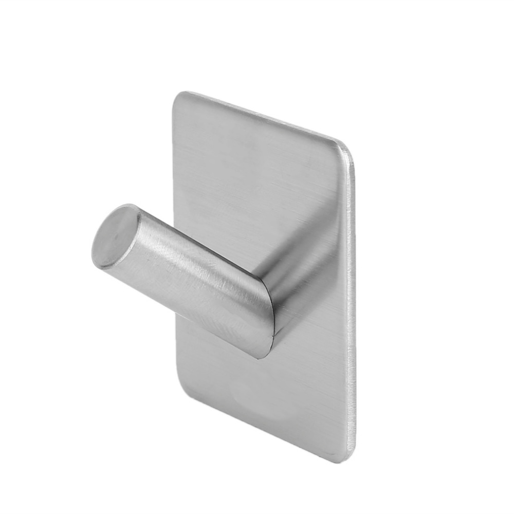 304 Stainless Steel 3M Self Adhesive Hook Hat Key Rack Bathroom Kitchen Towel Hanger Wall Mount Stick On Sticky Hanger