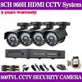 Home CCTV 960H DVR Security Camera System 4 in/outdoor Day/Night 800TVL Hi-Resolution cctv Surveillance Cameras kit No HDD