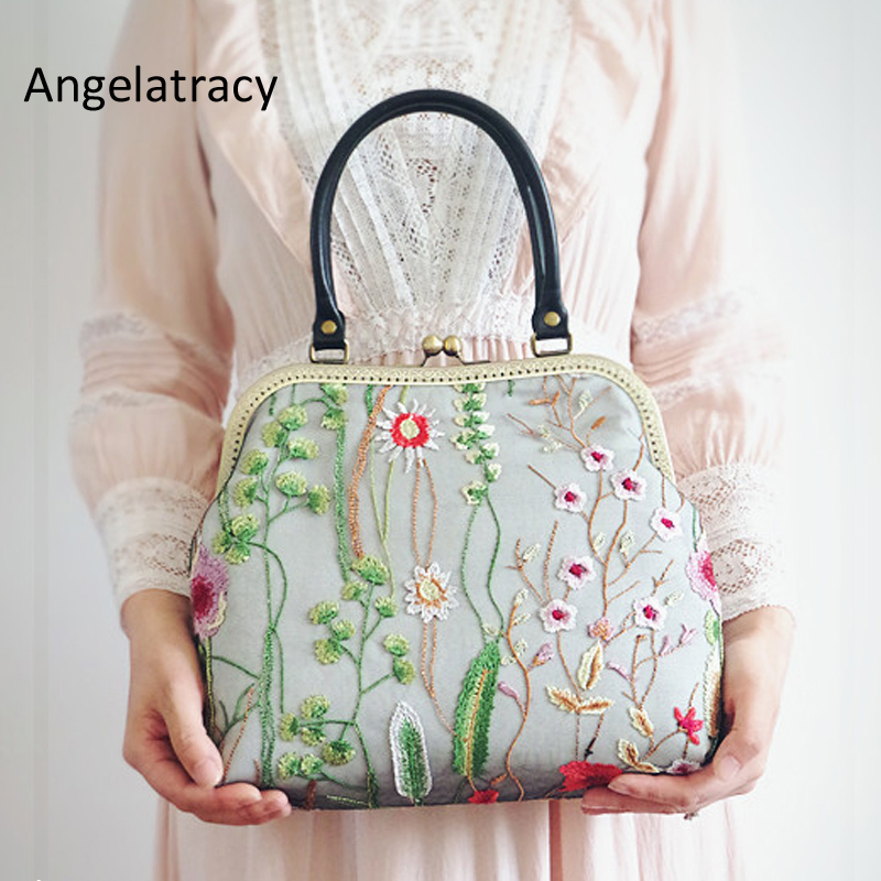 Angelatracy 2018 New Fashion Women Tote Bag Handmade Floral Embroidery Handbag Black Lace Flowers Embroider Lady Shoulder Bag alfani new blue black women s xl knit floral lace sheer gathered blouse $89 090