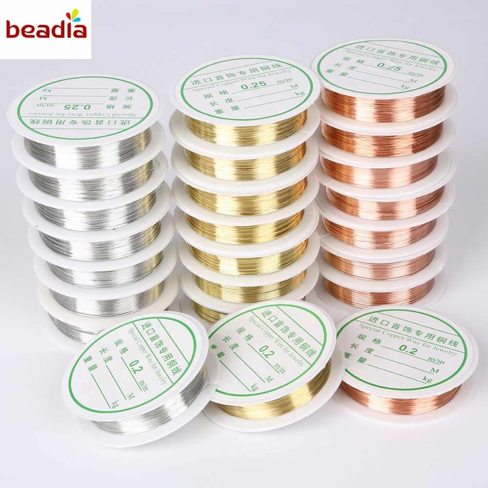 Dia 0.2mm/0.25mm/0.3mm/0.4mm/0.5mm/0.6mm/0.8mm/1.0mm (2-30m/roll) Alloy Copper Wire Silver/Gold/ Copper Crafts Beading Wire