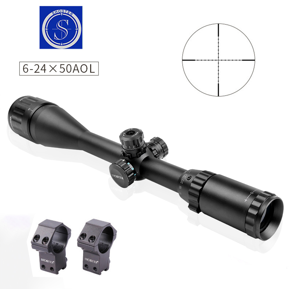 shooter 6-24X50 Mil-dot Riflescopes Tactical Optical Richtkijker Jaktomfattning m / Mounts För Jaktomfattning