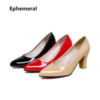 Woman High Heels Shoes Patent Leather Pointed Toe Sapato Feminion Red Black Beige Big Size Pumps