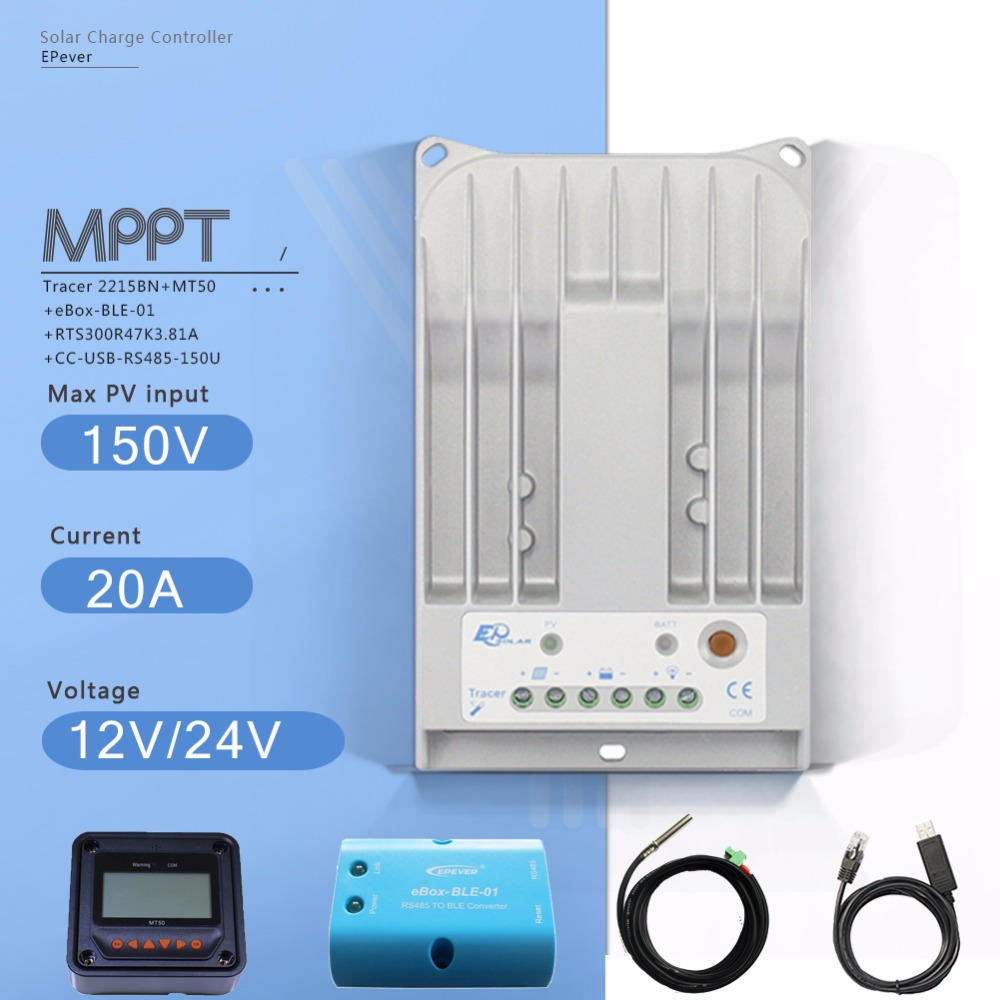 Tracer2215BN 20A MPPT Solar Charge Controller 12/24V Auto PV Regulator with MT50 Meter EBOX-BLE USB Cable and Temperature Sensor mppt 20a solar regulator tracer2210a with mt50 remote meter and temperature sensor