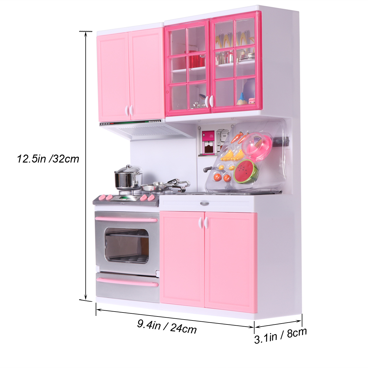 1 x plastic kitchenware playing house games tools kitchen set for kids girlspink