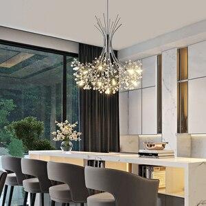 Image 2 - Moderne LED lustre éclairage nordique restaurant pendentif lampes chambre luminaires salle à manger cristal suspendus lumières