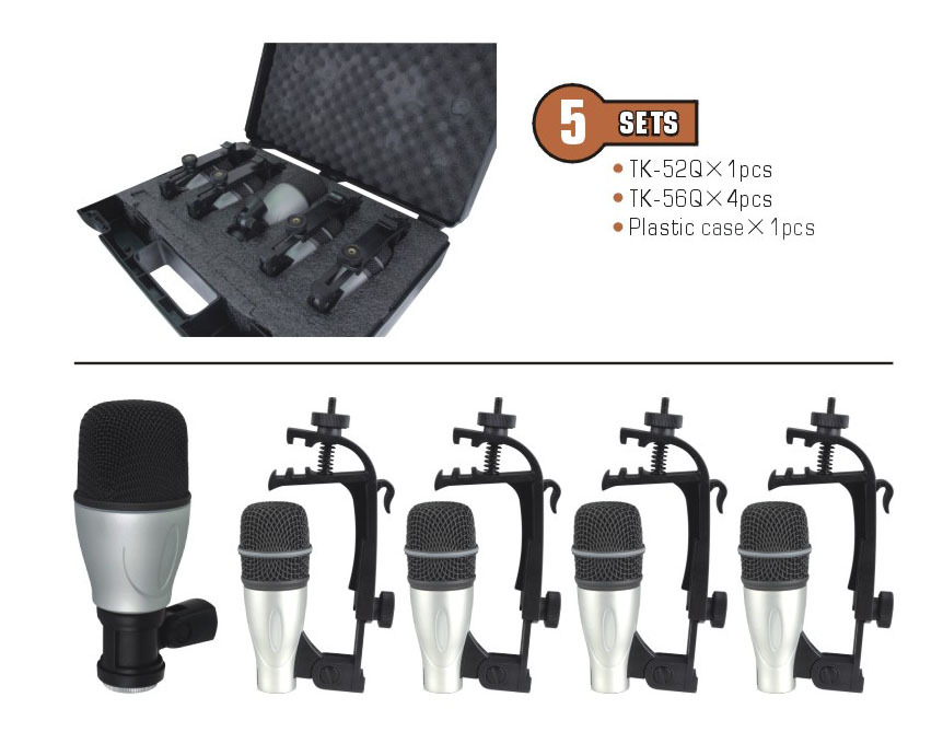 Drum Mic Set Musical Instrument Jazz Band Drums Microphones Professional 5pcs Kit all in one box