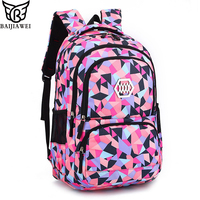BAIJIAWEI College Style Girls Backpack Children Spine Care Schoolbags 8 12 Years Old School Bag Kids Printing Backpack
