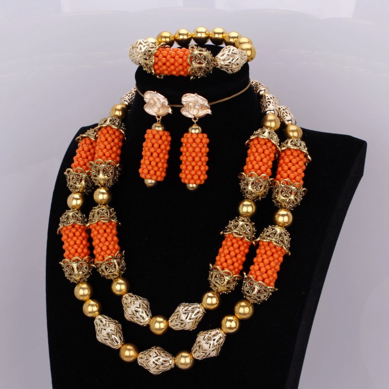 Bridal Jewelry Sets Orange and Gold Fine Jewelry African Bracelet Necklace Earrings Set Balls Costume Jewellery Free Shipping