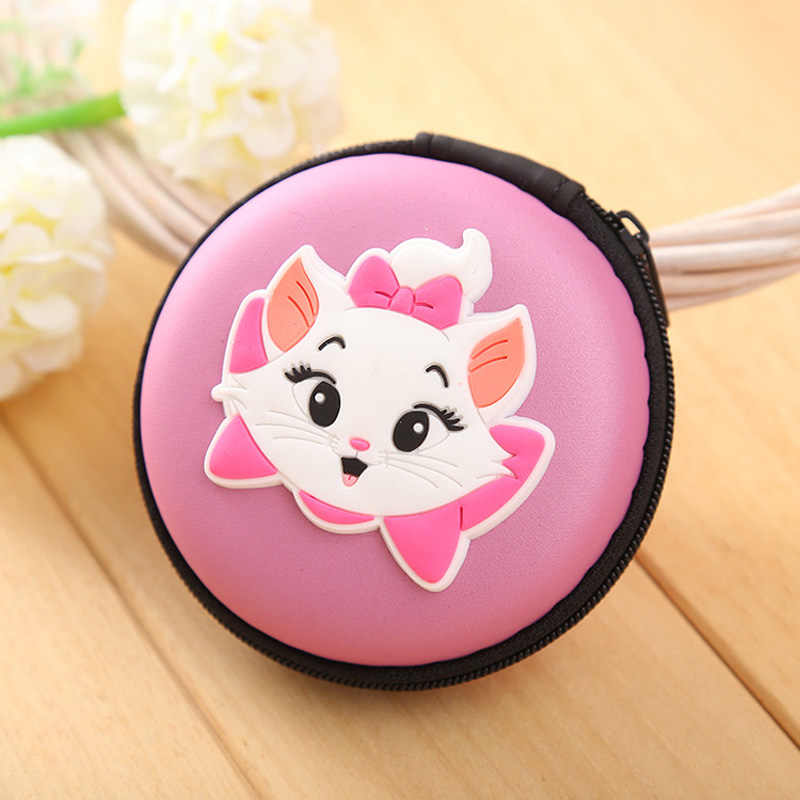Hot 2018 Marie Cat Silicone Coin Purse Round Shaped Zipper Coin Key Wallets Mini Package Box Pouch Gift Cartoon Wallet carteira