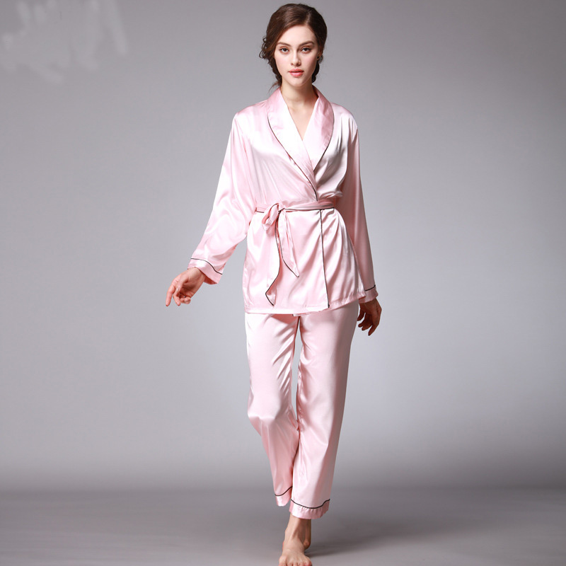 2539889c0a Women Satin Pajama set V neck Japanese Kimono Sexy pyjama femme Soft  Polyester Autumn Sleepwear 2pcs Nightgowns Sleep Lounge -in Pajama Sets  from Underwear ...