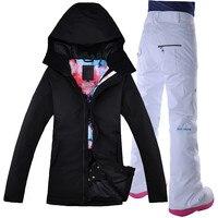 GSOU снег Для женщин лыжная куртка брюки ветрозащитные Водонепроницаемый Сноуборд костюм Термальность уличная спортивная одежда Женская зи