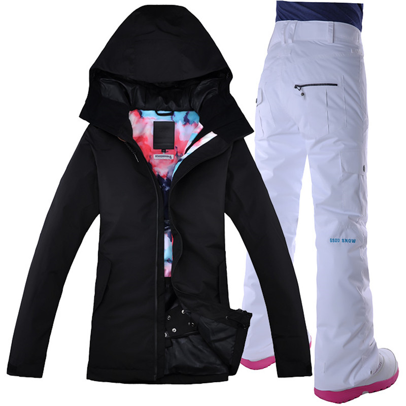 GSOU SNOW Women Ski Jacket Pant Windproof Waterproof Snowboard Suit Thermal Outdoor Sport Wear Female Winter Clothing Trouser 2018 gsou snow men ski jacket snowboard clothing windproof waterproof thermal breathable male clothing outdoor sport wear winter