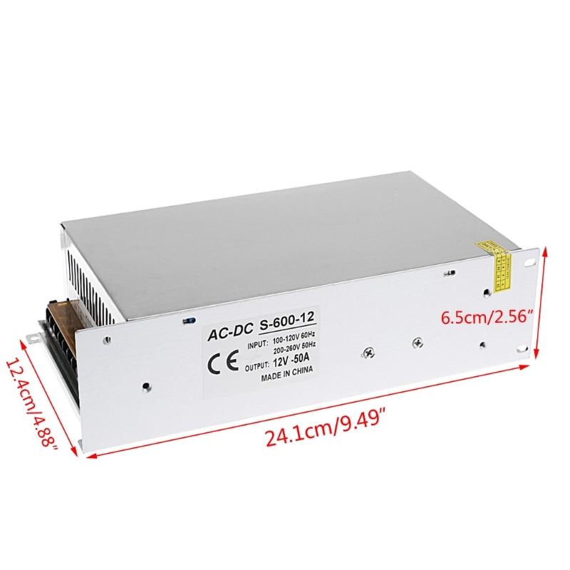 AC 100-260V To DC 12V 50A 600W Switch Power Supply Driver Adapter LED Strip Light  W315 ac 85v 265v to 20 38v 600ma power supply driver adapter for led light lamp