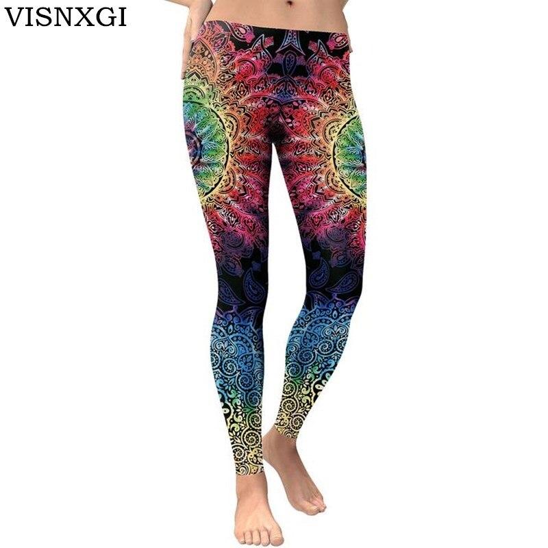 VISNXGI Hot Women Leggings New Arrival Women Legging Mandala Round Leggins Fitness 3D Printed High Elasticity Pants Trousers