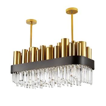 Luxury Modern Crystal Chandelier Gold Polished Steel Dining Room Lighting Fixture Rectangle AC110-240V Cristal Hotel lobby light